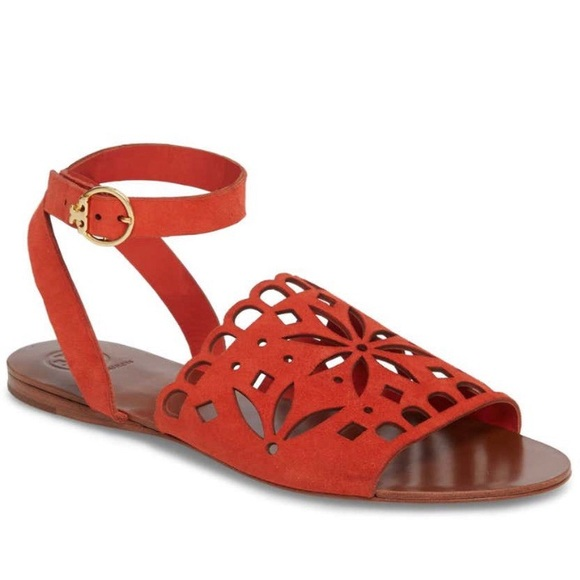 Tory Burch May Perforated Ankle Strap Sandal Size8